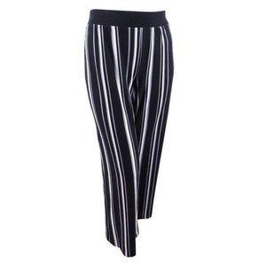 INC Black White Plus Sz Striped Wide Leg Pants